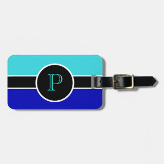 Teal Blue Monogram Initial Modern Chic Travel Bag Luggage Tag