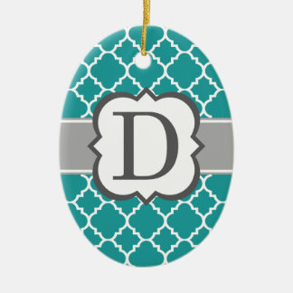 Teal Blue Monogram Letter D Quatrefoil Ceramic Oval Ornament