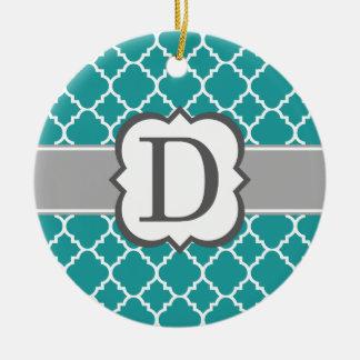 Teal Blue Monogram Letter D Quatrefoil Round Ceramic Ornament