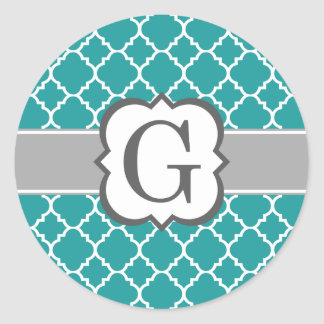 Teal Blue Monogram Letter G Quatrefoil Classic Round Sticker