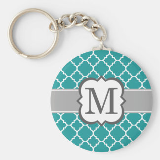 Teal Blue Monogram Letter M Quatrefoil Basic Round Button Keychain