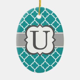 Teal Blue Monogram Letter U Quatrefoil Ceramic Oval Ornament