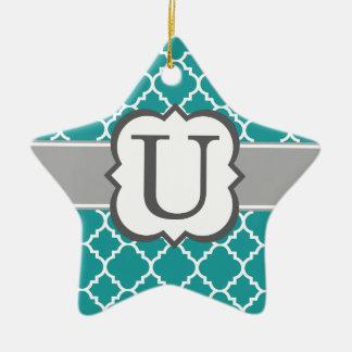 Teal Blue Monogram Letter U Quatrefoil Ceramic Star Ornament