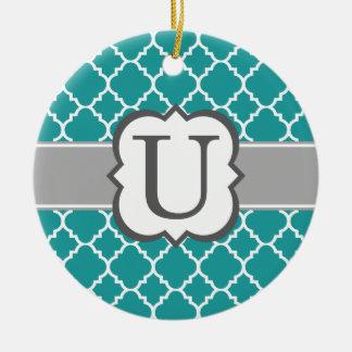 Teal Blue Monogram Letter U Quatrefoil Round Ceramic Ornament