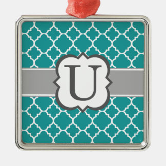 Teal Blue Monogram Letter U Quatrefoil Silver-Colored Square Ornament