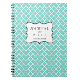 Teal blue Moroccan tile personalized journal