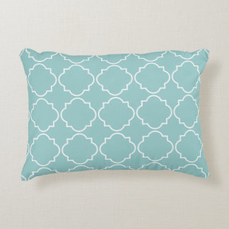 Teal blue morrocan quatrefoil trellis decor pillow