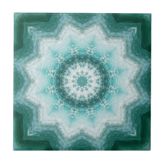 Teal Blue Ocean Geometric Pattern Ceramic Tile