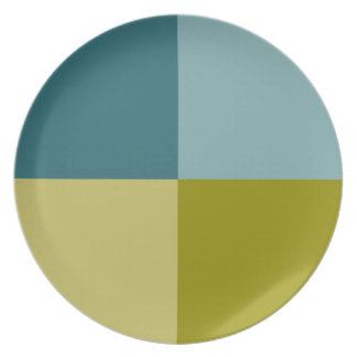 Teal Blue Olive Yellow Pattern Plate