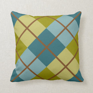 Teal Blue Olive Yellow Pattern Throw Pillow