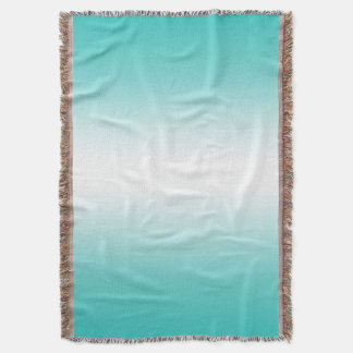 Teal Blue Ombre Gradient Color Throw Blanket