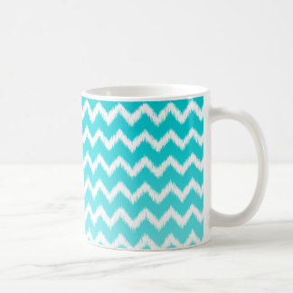 Teal Blue Ombre Ikat Chevron Pattern Coffee Mug