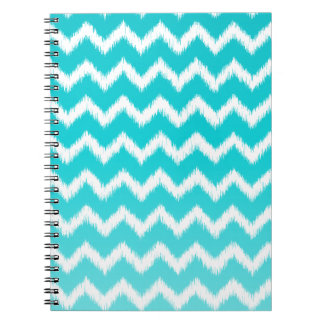 Teal Blue Ombre Ikat Chevron Pattern Notebooks