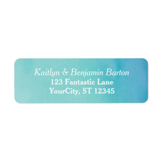 Teal & Blue Ombre Watercolor Matching Design Return Address Label