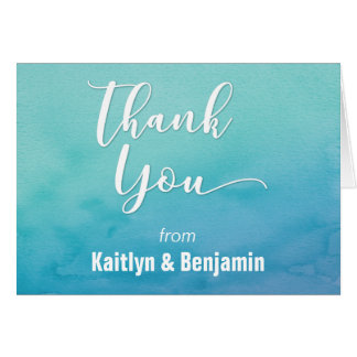 Teal & Blue Ombre Watercolor Thank You Note 2 Card