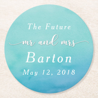 Teal & Blue Ombre Wedding Celebration Round Paper Coaster