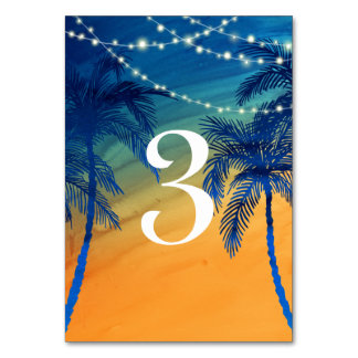 Teal Blue & Orange Tropical Palm Tree Table Number