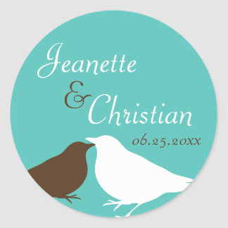 Teal blue pair love birds wedding favor seal label