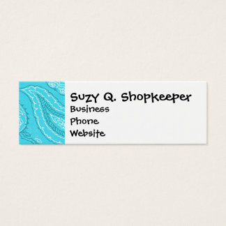 Teal Blue Paisley Print Summer Fun Girly Pattern Mini Business Card