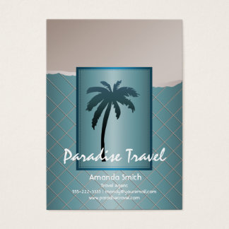 Teal Blue Palm Tree Business Cards