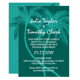 Teal Blue Palm Tree Wedding Invitations