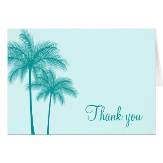 Teal Blue Palm Trees Tropical Card