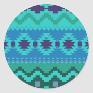 TEAL BLUE PATTERN, BLUE ABSTRACT AZTEC TURQUOISE CLASSIC ROUND STICKER