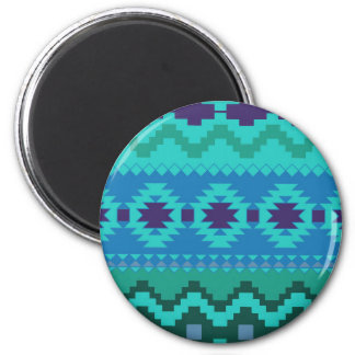 TEAL BLUE PATTERN, BLUE ABSTRACT AZTEC TURQUOISE MAGNET