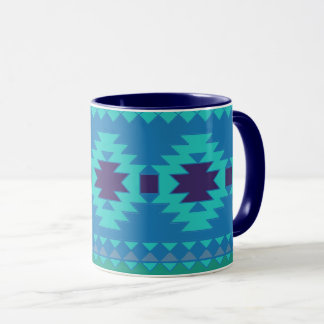 TEAL BLUE PATTERN, BLUE ABSTRACT AZTEC TURQUOISE MUG