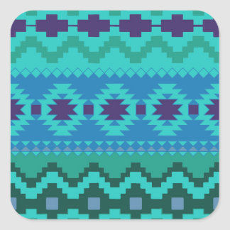 TEAL BLUE PATTERN, BLUE ABSTRACT AZTEC TURQUOISE SQUARE STICKER
