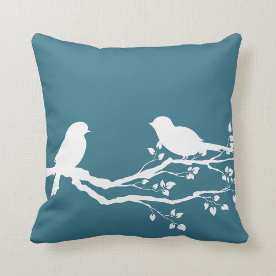 Teal Blue Peaceful Tree Throw Pillow