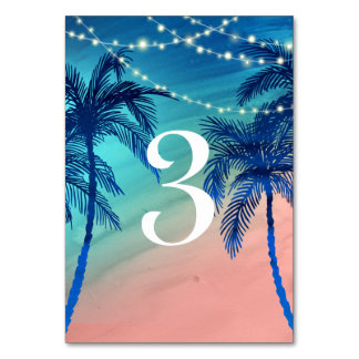 Teal Blue & Peach Palm Tree Table Numbers Table Card