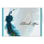 Teal Blue Peacock Plume Thank You