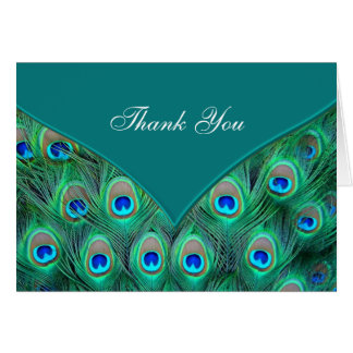 Teal Blue Peacock Thank You Cards