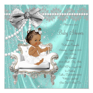 Teal Blue Pearl Chair Ethnic Girl Baby Shower Card