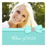 Teal Blue Photo Graduation Announcements