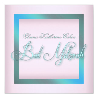 Teal Blue Pink Bat Mitzvah Invitations