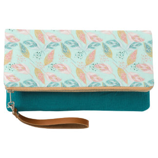 Teal Blue & Pink Feathers Fold-over Clutch Purse