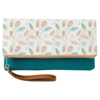 Teal Blue & Pink Tribal Chic Feathers Clutch