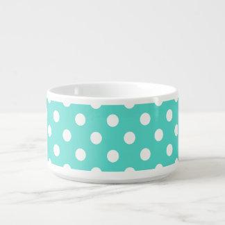 Teal Blue Polka Dot Pattern Bowl