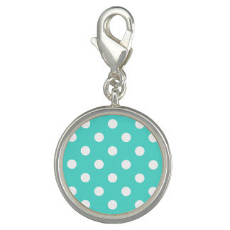 Teal Blue Polka Dot Pattern Charms
