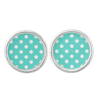 Teal Blue Polka Dot Pattern Cufflinks