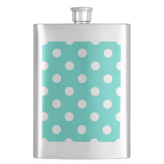 Teal Blue Polka Dot Pattern Flask