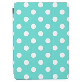 Teal Blue Polka Dot Pattern iPad Air Cover