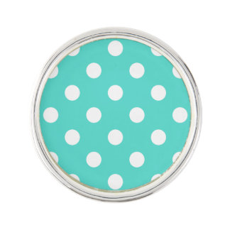 Teal Blue Polka Dot Pattern Lapel Pin