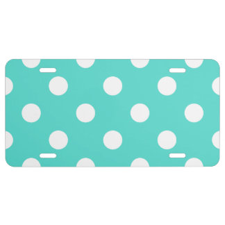 Teal Blue Polka Dot Pattern License Plate
