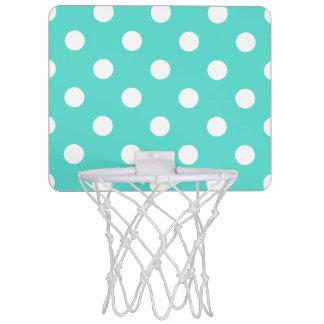 Teal Blue Polka Dot Pattern Mini Basketball Hoop
