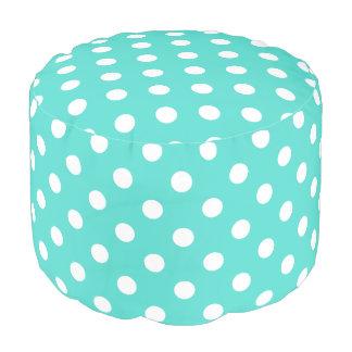 Teal Blue Polka Dot Pattern Pouf