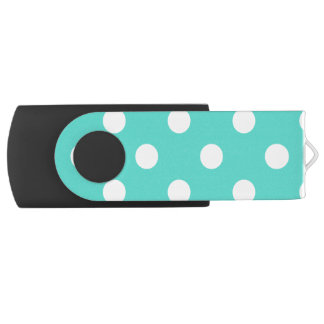 Teal Blue Polka Dot Pattern USB Flash Drive