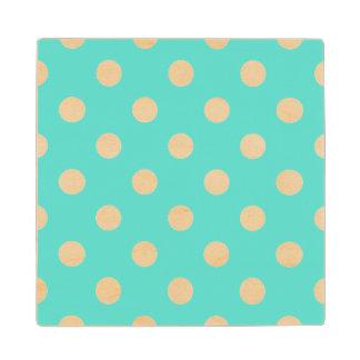 Teal Blue Polka Dot Pattern Wood Coaster